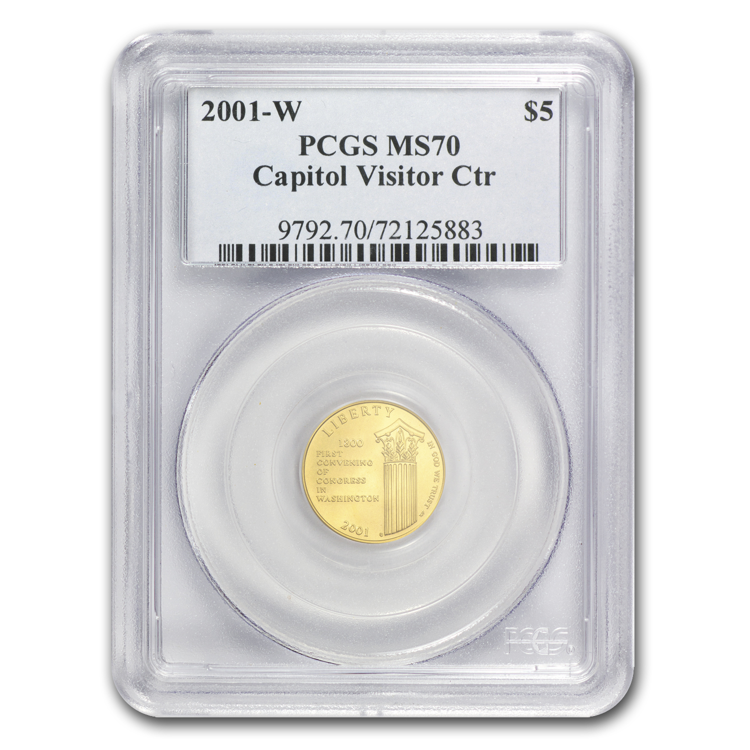 2001-W Gold $5 Commem Capitol Visitor Center MS-70 PCGS